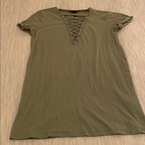 Army Green Criss-Cross T-Shirt Dress